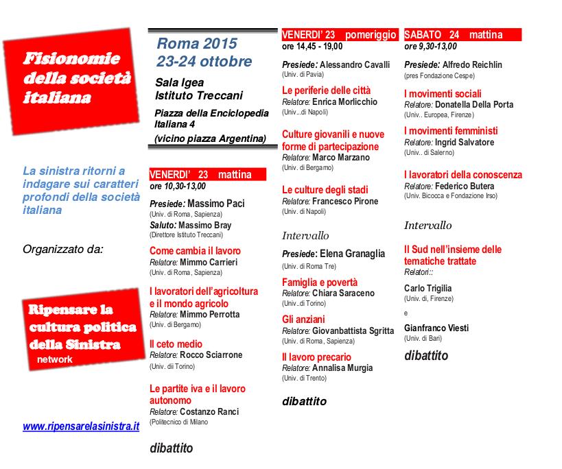 23-24 Ottobre 2015. Roma: Fisionomie della società italiana